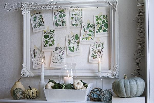 Fall mantel decoration in green and white by Songbirdblog