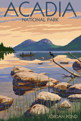Acadia National Park  Maine   Jordan Pond   Lantern Press Poster