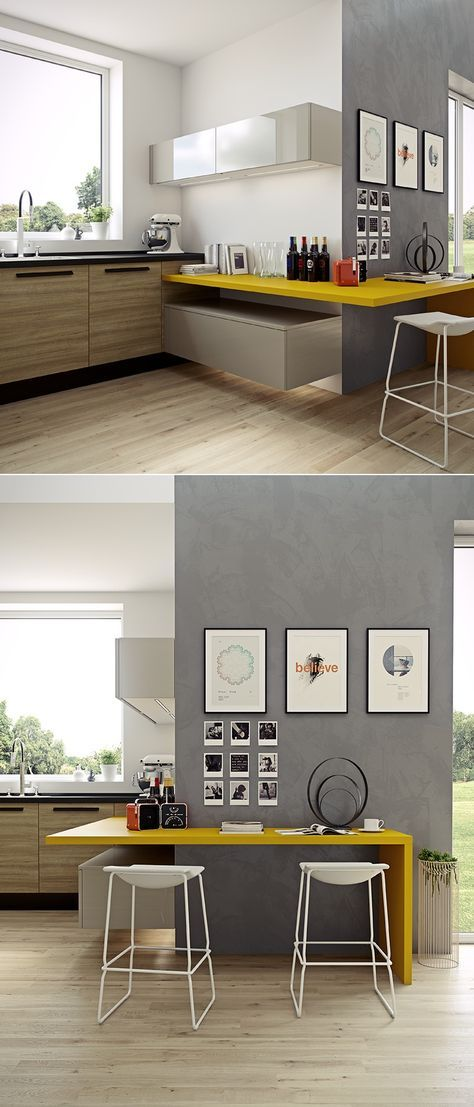 playing with heights, colours, materials, functions. Modern Kitchen.