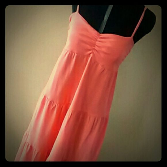 !!!!HP!!!! Coral sundress Coral with spaghetti straps. Measures 29 inches from armpit to bottom. Old Navy Dresses