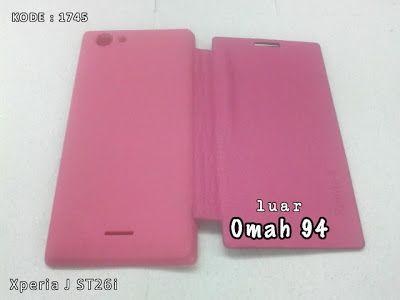 KODE BARANG 1745 Jual Flip Cover Case Sony Xperia J ST26i Merah Hati (Pink) | Toko Online Rame - rameweb