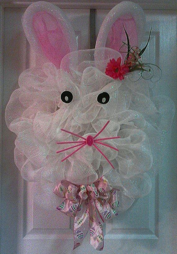 bunny poly deco mesh wreath