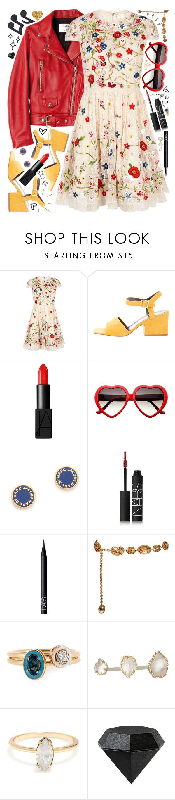 """""""{with my feelings on fire}"""" by kk-purpleprincess ❤ liked on Polyvore featuring Alice + Olivia, CÉLINE, NARS Cosmetics, Marc by Marc Jacobs, Chanel, Old Navy, Alison Lou, Kendra Scott, Music Notes and Areaware"""