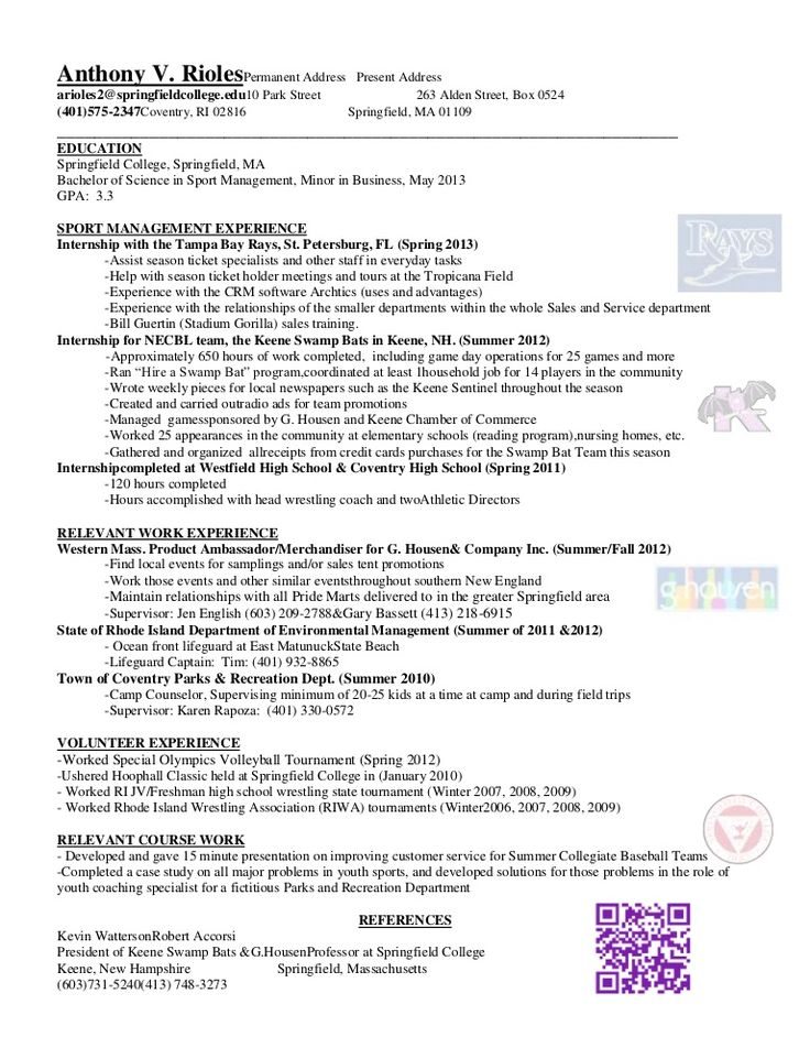 Sport Management Experience Resume Sample RESUMESDESIGN