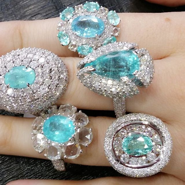 Bavna Jewelry Paraiba 2Toumaline,raras- diamond#Rings  #chics# richs.