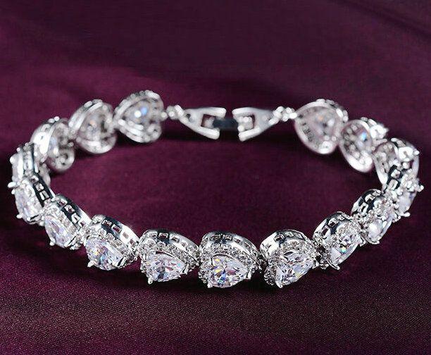 Новейшие Разработки В Форме Сердца Швейцарский циркон изысканный романтический gem свадебные браслеты для женщин высшего качества