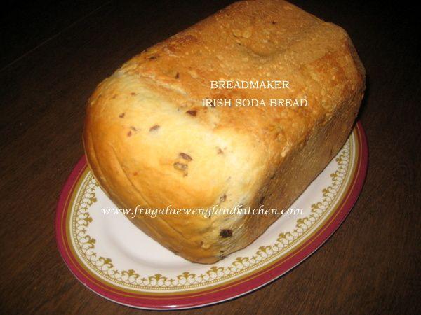 Irish Soda Bread for Bread Maker  #breadmachine #recipe http://frugalnewenglandkitchen.com/breadmaker-irish-soda-bread-recipe-2/