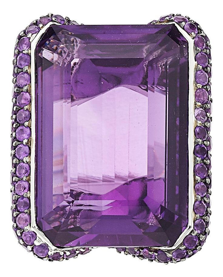 Amethyst and White Gold Ring by Adler