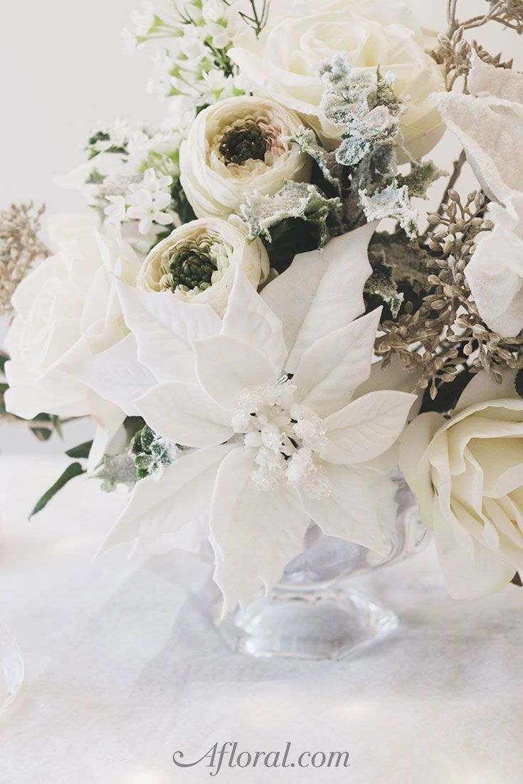 Diy Winter Wedding Centerpiece With Artificial Flowers From Afloral Com Winter Wedding Centerpieces Winter Wedding Centerpieces Diy Flower Table Decorations