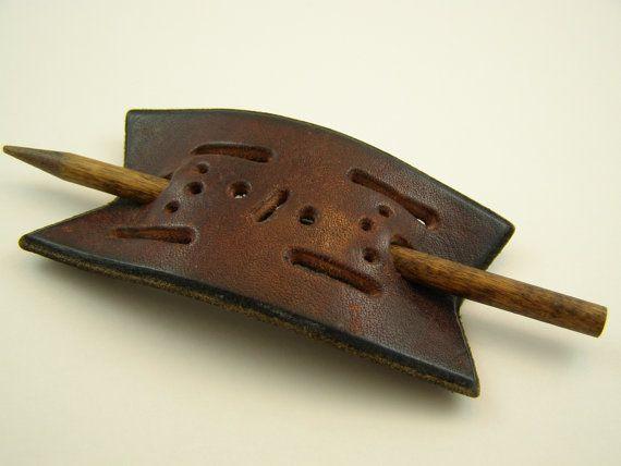 vintage leather stick barrette