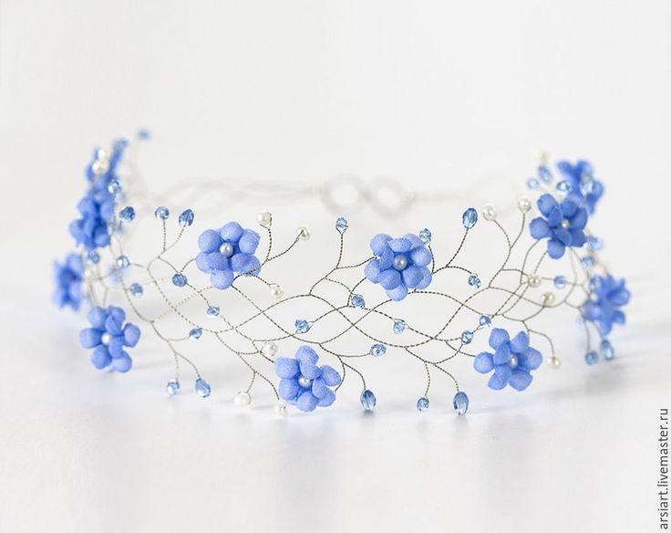 Купить Тиара для невесты, Голубые цветы, Серебряный веночек, Для свадьбы, Сва - венок на голову
