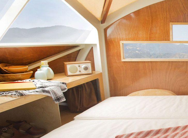The tiny Hütte Hut is a wonderful wooden teardrop camper for t...