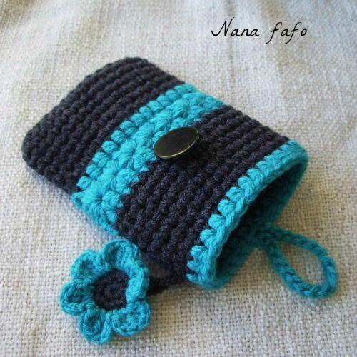 Pochette ou étui pour téléphone portable au crochet : smartphone et iphone
