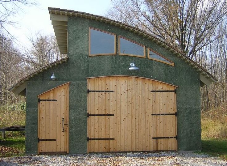 concrete siding | Art studio: cedar shake roof, cement board siding, bead board doors ...