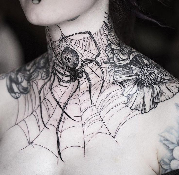 Blackwork Spider & Web Neck Tattoo Idea