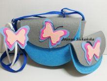 Torebeczka niebieska w komplecie z opaską i portfelikiem