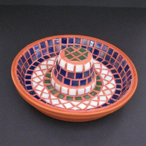 Mosaic bird bath: small pot and larger pot saucer