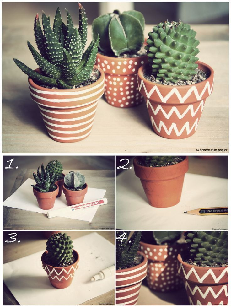 Kakteentopfmalerei zum Muttertag plant / flower / succulent / cactus / garden