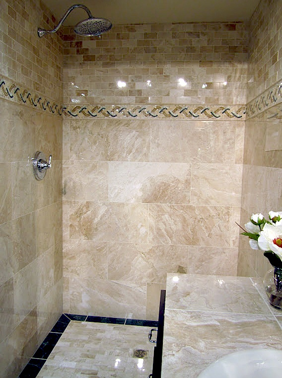 Traditional Designed Travertine Shower
