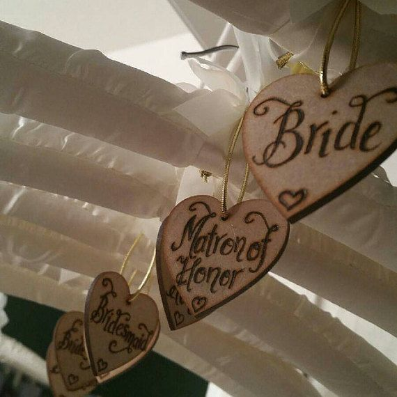 Personalized wedding day wooden tags to hang on wedding outfit hangers on wedding day, champagne tags, wedding day, place names custom(PQ12)