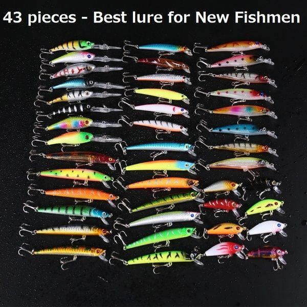 20pcs Fishing Lures Crankbaits Hook Minnow Bait Tackle Crank Kit Mixed Models