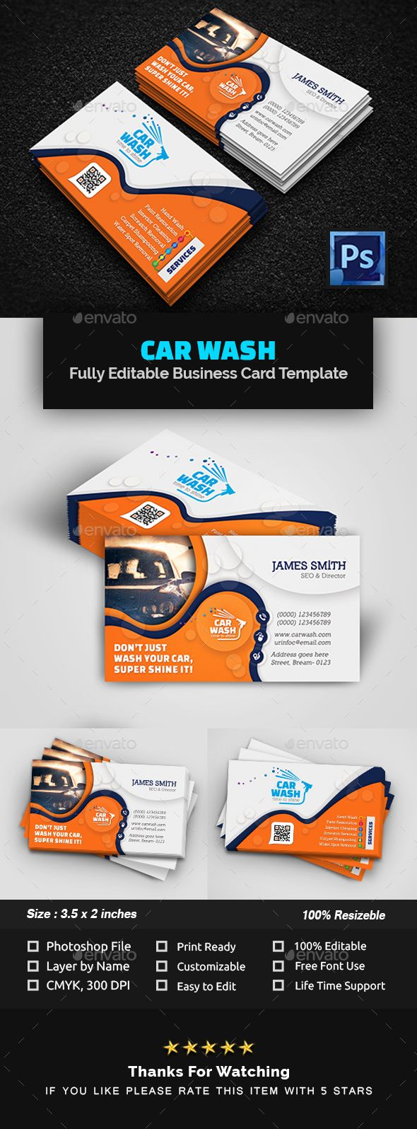 Car Wash Business Card Business Card Template Psd Car Wash Business Business Cards Creative