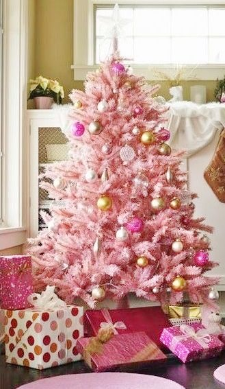 pink christmas trees decor quotes photoscookiescakes more - Light Pink Christmas Tree