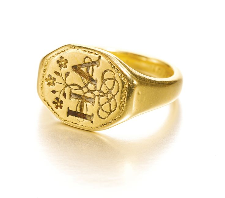 ♔  ENGLISH, CIRCA 1600 SIGNET RING WITH A POSEY THE BEZEL WITH THE LETTERS: H AND A INTERTWINED, AND THE INTERIOR OF THE SHANK INSCRIBED: WHEN THIS YOU SEE REMEMBER ME  + GOLD   https://www.pinterest.com/moonshooter1