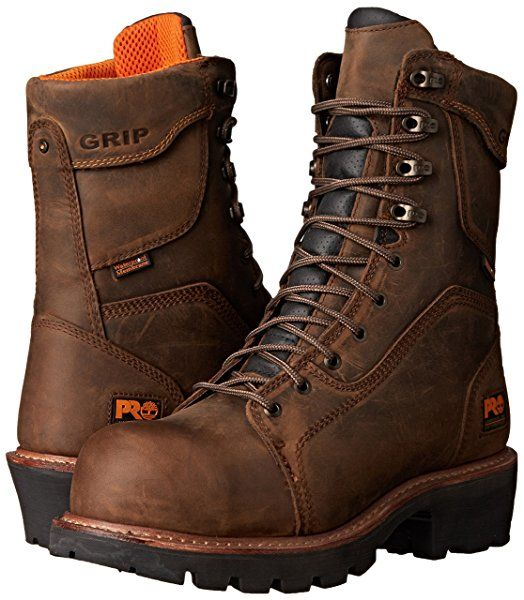 """Timberland PRO Men's 9"""" Composite Safety Toe Waterproof Insulated Logger Brown Leather 10.5 D - Medium"""