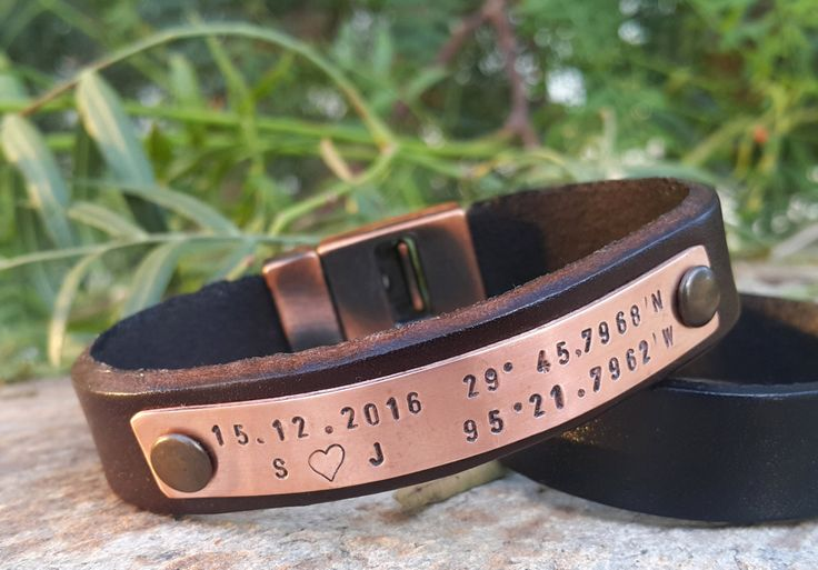 Personalized GPS Coordinates Leather Bracelet, Hand Stamped Copper Plate, Genuine Leather, Long Distance Relationship Boyfriend Husband Gif