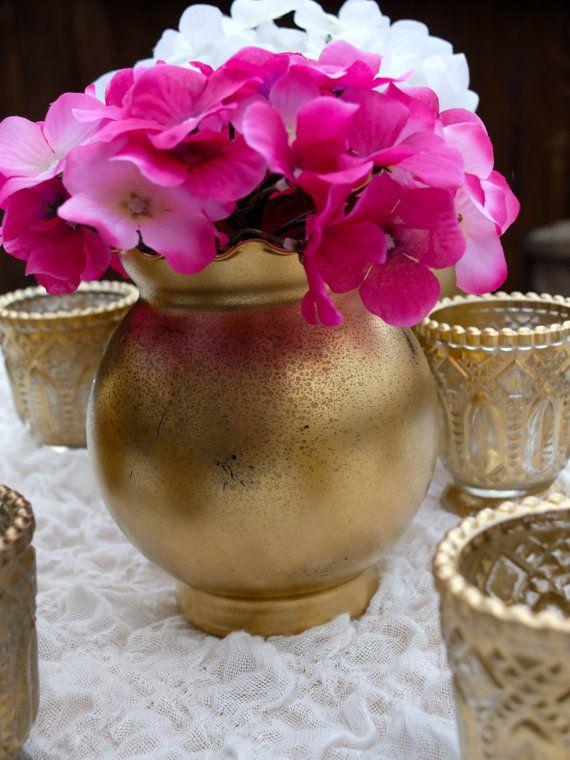 Distressed Gold Metallic Round Vase Wedding Decor by HannaPlusJosh, $11.99