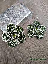 Náušnice - Zelený kvet - 9379989_