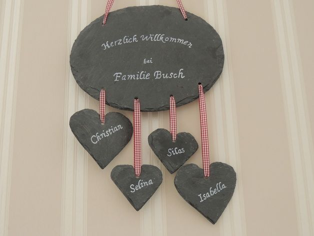 schiefer t rschild namensschild familienschild diy pinterest namensschilder t rschilder. Black Bedroom Furniture Sets. Home Design Ideas