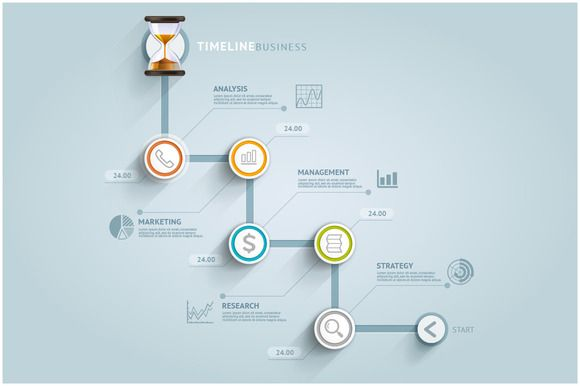 Check out Business Timeline Infographics by Graphixmania on Creative Market