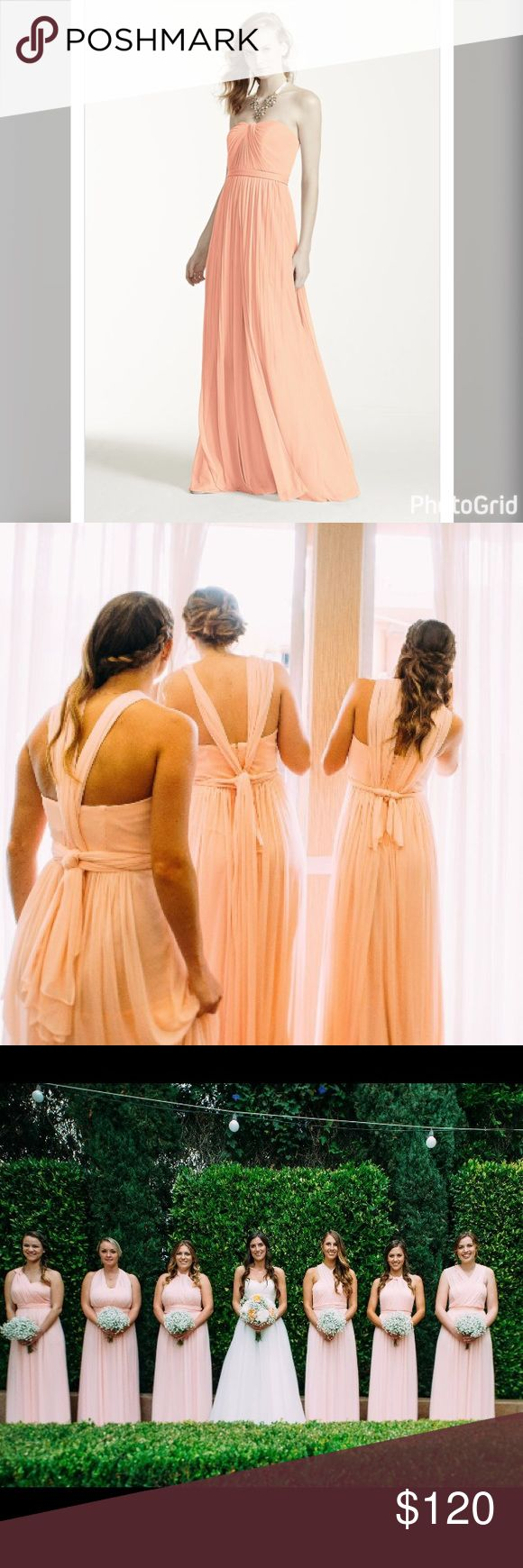 """Bellini Versa Dress from Davids Bridal Worn once! For a wedding. Can be worn like 15 ways.. every bridesmaid in the pictures is wearing the same dress. Color is called Bellini. Hemmed to 6'0"""" height so plenty of room to be hemmed shorter if need be. David's Bridal Dresses Maxi"""
