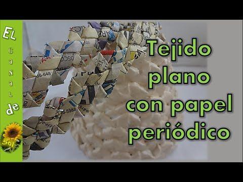 TEJIDO DOBLE TRENZA con papel periódico - FABRIC DOUBLE BRAID with newspaper - YouTube