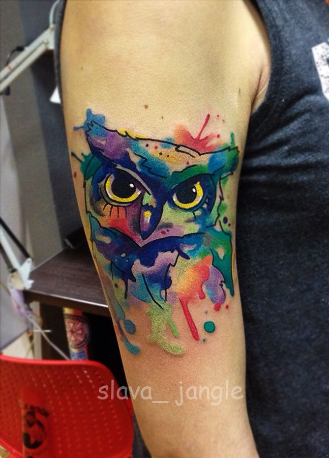 tattoo owl watercolortattoo акварельная совушка сова татуировка