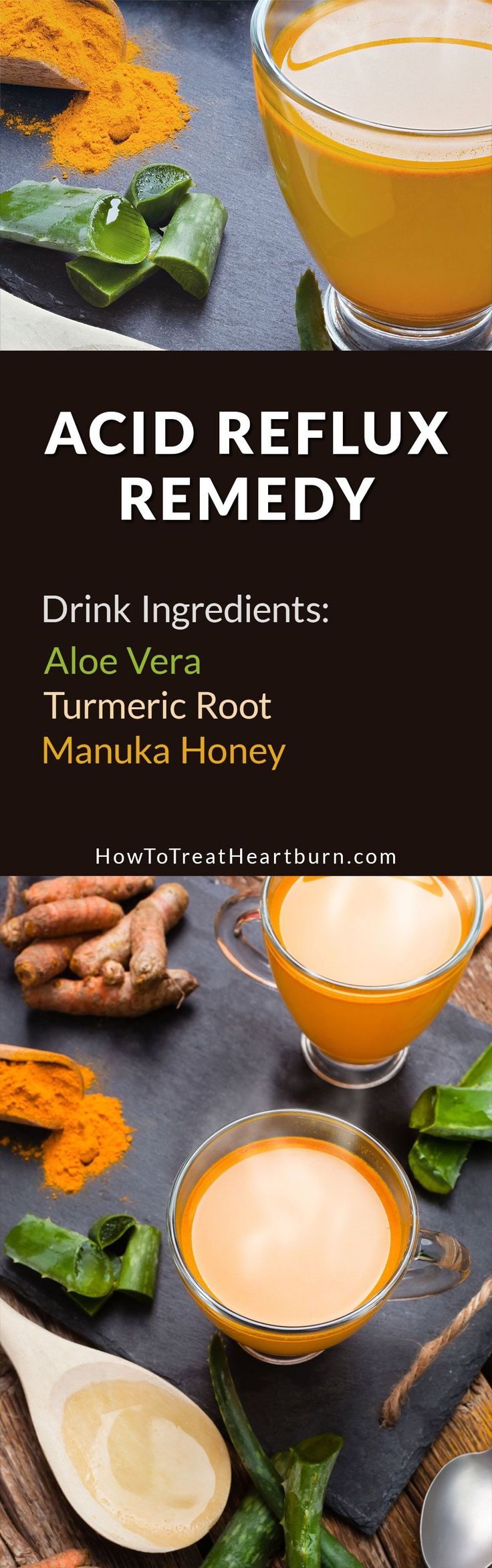 Aloe vera, turmeric root, and manuka honey can be combined to make this healthy drink that prevents acid reflux and treats heartburn without the side effects of popular heartburn medications.