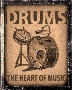 Drums set sign / Music Studio retro vintage wall decor by hodeac
