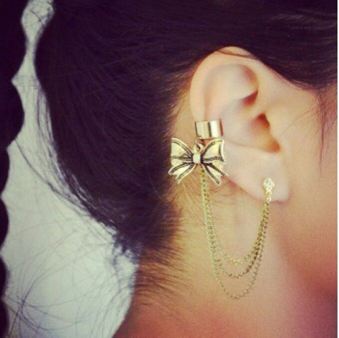Beautiful Bow Ear Cuff Love It Also A Easy Diy Just Need The Chain Earring Charm Jewelry Wire To Make And Cutters Plie