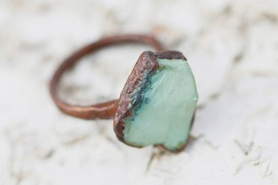 Turquoise Ring: raw gemstone ring bohemian ring by www.littlesycamore.etsy.com
