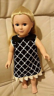 18 inch handmade doll clothes Black and White tea party dress
