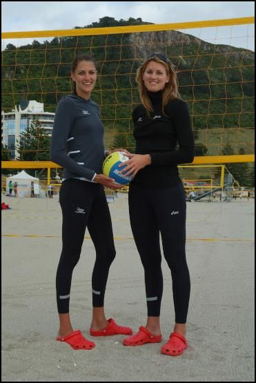 Susan Blundell 185cm & Anna Scarlet 187cm. They are New Zealand's tallest ever woman's pro volleyball players .
