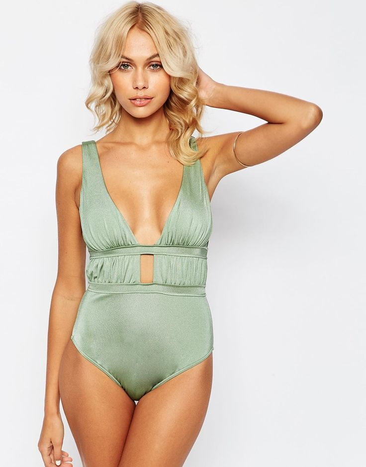 Image 1 of ASOS Gathered Deep Plunge Swimsuit