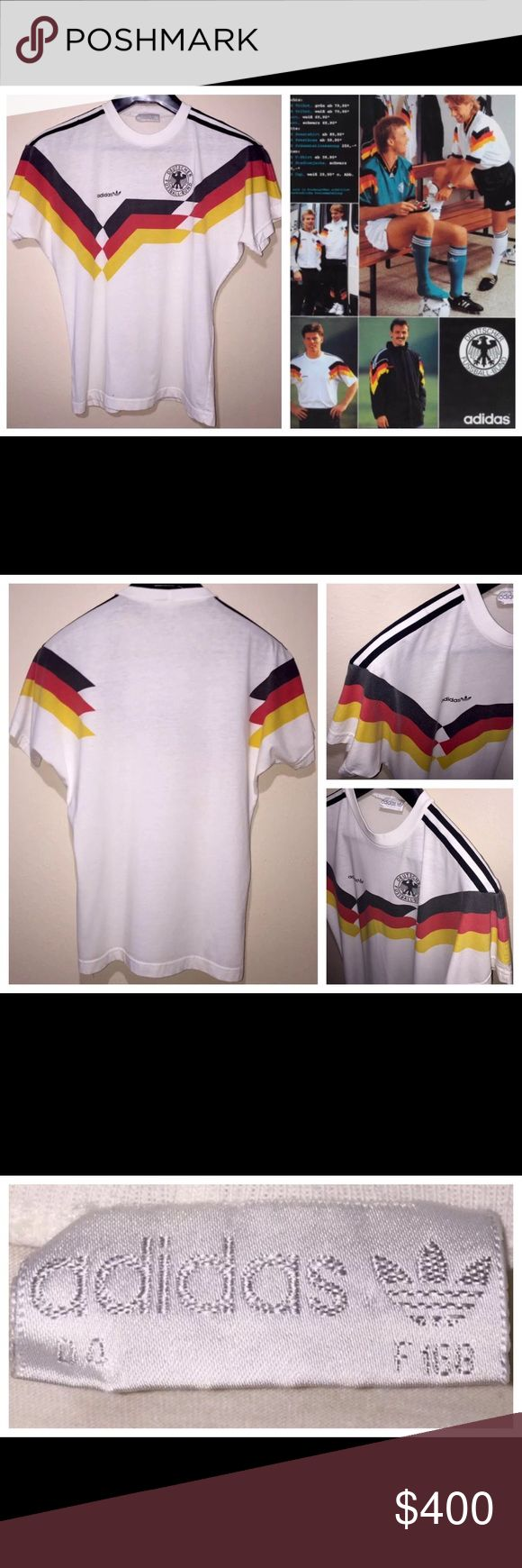 """Vintage Adidas Germany DFB Deutscher Soccer Jersey Vintage 1970s - 1980s Adidas Germany DFB Deutscher Football Soccer Thin Jersey Shirt Size M  60% Cotton / 40% Polyester Made in Singapore See measurements for proper size and fit.  MEASUREMENTS: ACROSS PIT TO PIT: 20"""" BACK LENGTH: 27""""  Please view last photo for spot at the bottom of shirt. Thanks so much for your support. Good luck. adidas Shirts Tees - Short Sleeve"""