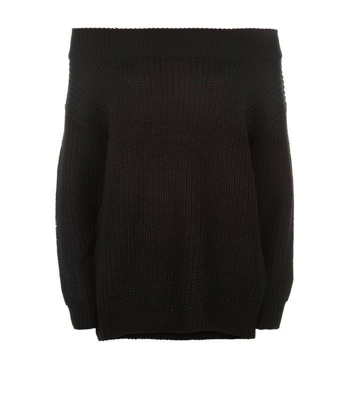 Black Ribbed Bardot Off the Shoulder Jumper | New Look