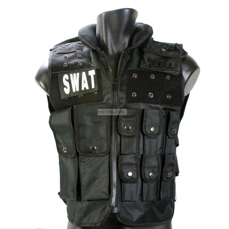 Amazon.com : MetalTac Airsoft Tactical Vest Modular Style SWAT Vest [VS01] - Comes with Multiple Pockets & removealbe pouches, Neck Cushion for Paintball & Airsoft Gear in Black with MetalTac Warranty + Tech Support : Sports & Outdoors