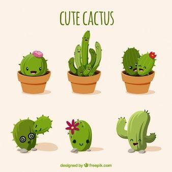 Set de cactus divertidos