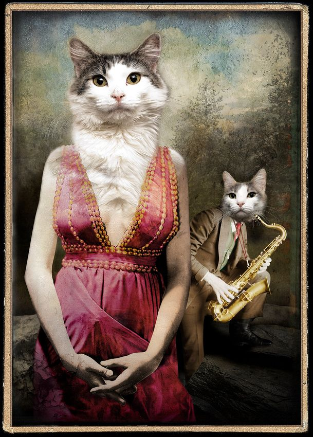 "Sax Before Breakfast Madeline Softfur is a dancer at the Last Chance Caberat, a less than reputable after-hours establishment. Her curent lover is Sammy ""Sax-man"" Tufttoes ...most think he's a bit of a blow-hard. Anthropomorphic collage © Jay Thompson Cat Works"