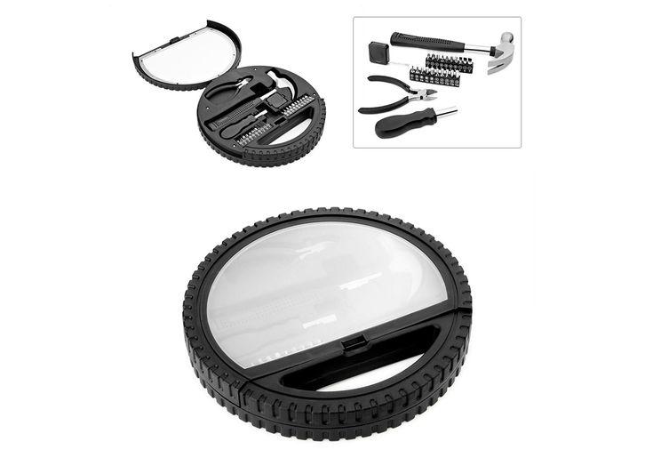 HE0277 Herramientero Wheel. Caja de herramientas en forma de rueda con cubierta transparente, con manija para fácil transporte. Incluye Martillo, Pinzas, cinta métrica, 10 puntas de destornillador, 1 adaptador y 9 copas.